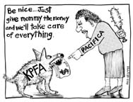 KPFA labor art cartoon kpfa dog