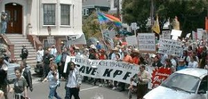 KPFA labor art photo 1999 Save KPFA